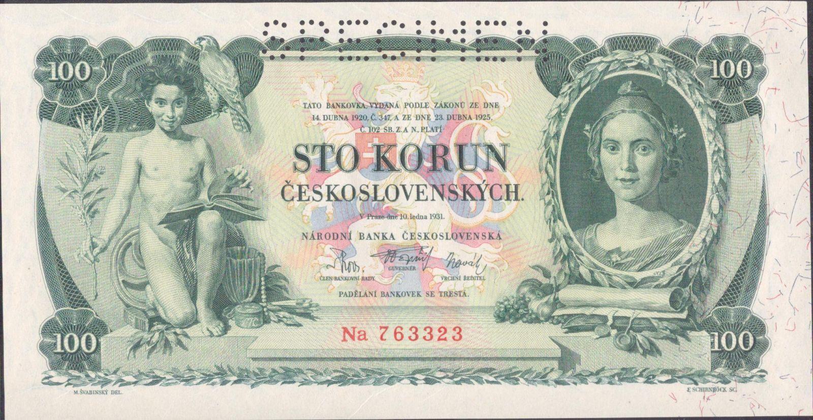 100Kč/1931/, stav UNC perf. SPECIMEN, série Na