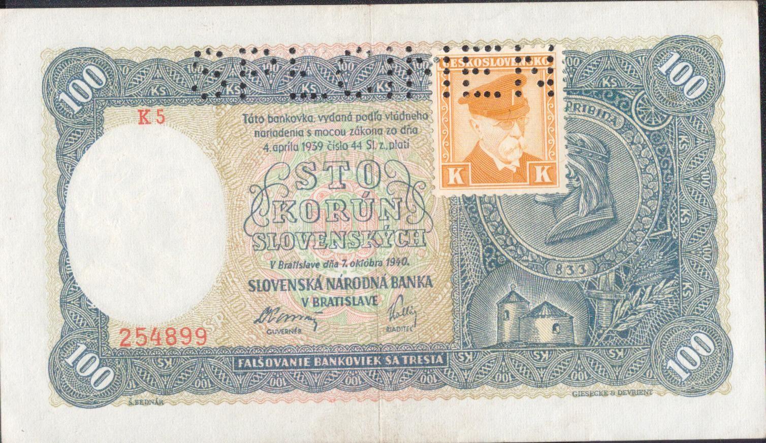 100Ks/1940-kolek ČSR/, stav 1- perf. SPECIMEN nahoře, série K 5 - I.vydání