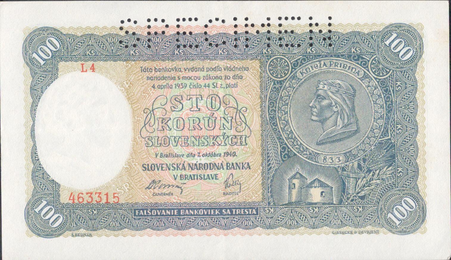 100Ks/1940/, stav 2+ perf. SPECIMEN nahoře, série L 4 - I.vydání