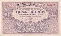 10Kč/1927/, stav 0 perf. SPECIMEN, série N 152