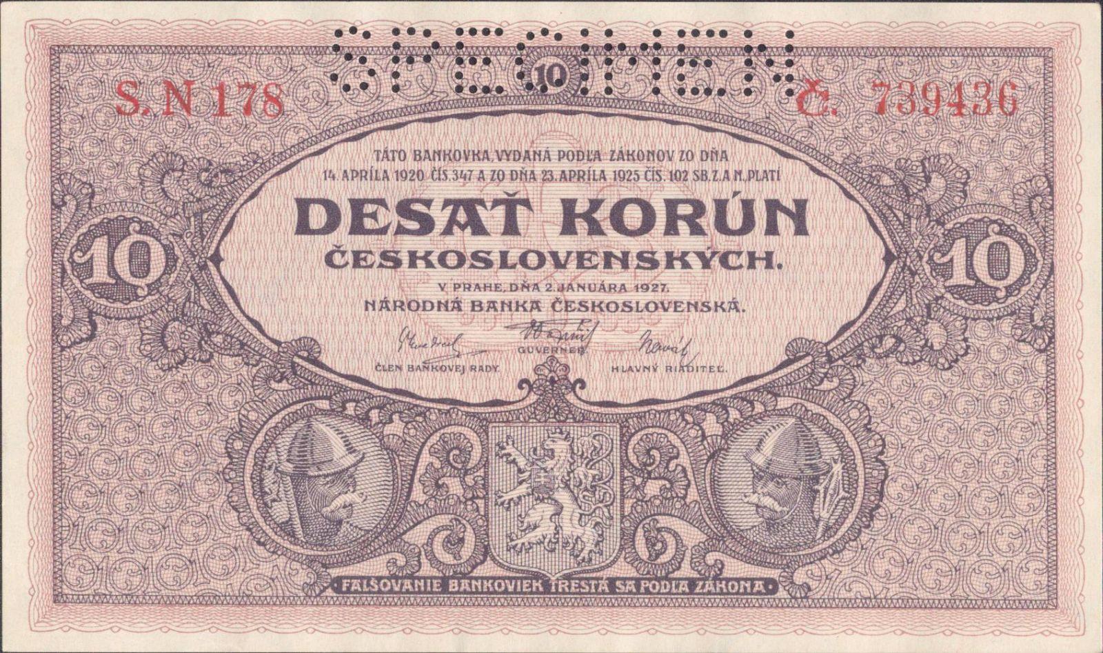 10Kč/1927/, stav UNC perf. SPECIMEN, série N 178