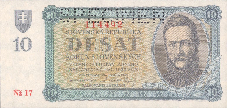 10Ks/1943/, stav UNC perf. SPECIMEN, série Ňž 17
