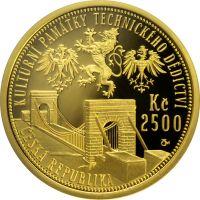 2500 Kč(2008-most ve Stádlci, Au 999, 7,78g), stav PROOF, certifikát, etue