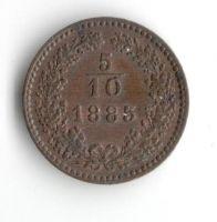 5/10 Krejcaru(1885-ražba bz), stav 0/0