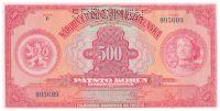 500Kč/1929/, stav UNC perf. SPECIMEN, série E