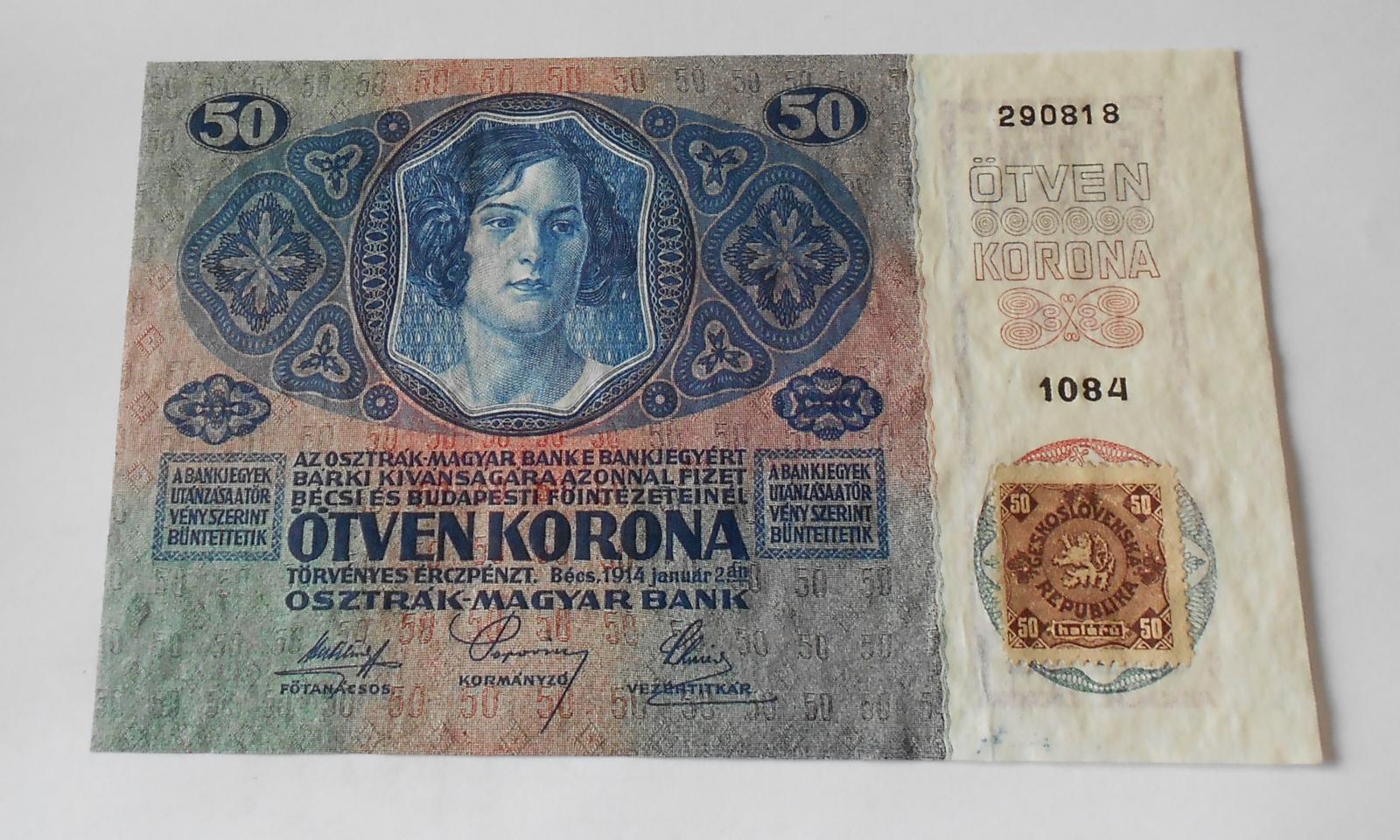 50Kč/1914-18-kolek ČSR/, stav 0, série 1084