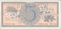 5Ks/1945/, stav UNC perf. SPECIMEN nahoře, série D 026