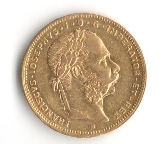 8 Zlatník/20 Frank (1882-Au 900-6,425g-ražba bz), stav 1+/1+