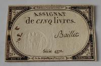 Francie 5 Livres Asignát