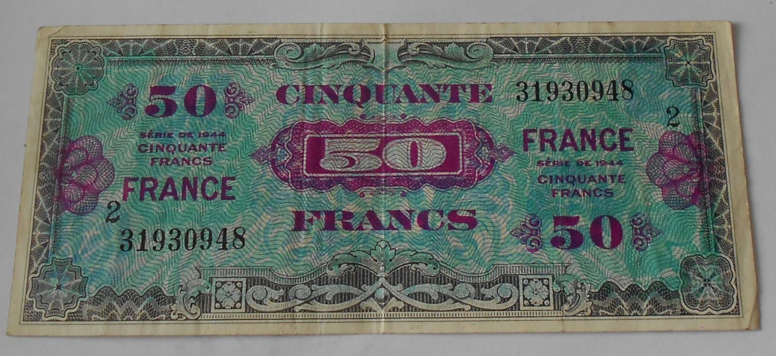 Francie 50 Frank 1944 Vojenská poukázka