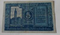 Německo 5 Marek 1919 nouzovka