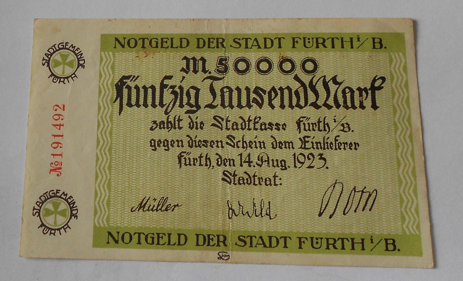 Německo 50 000 Marek 1923 nouzovka