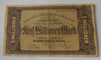 Německo – Drážďany 5 milionu Marek 1923