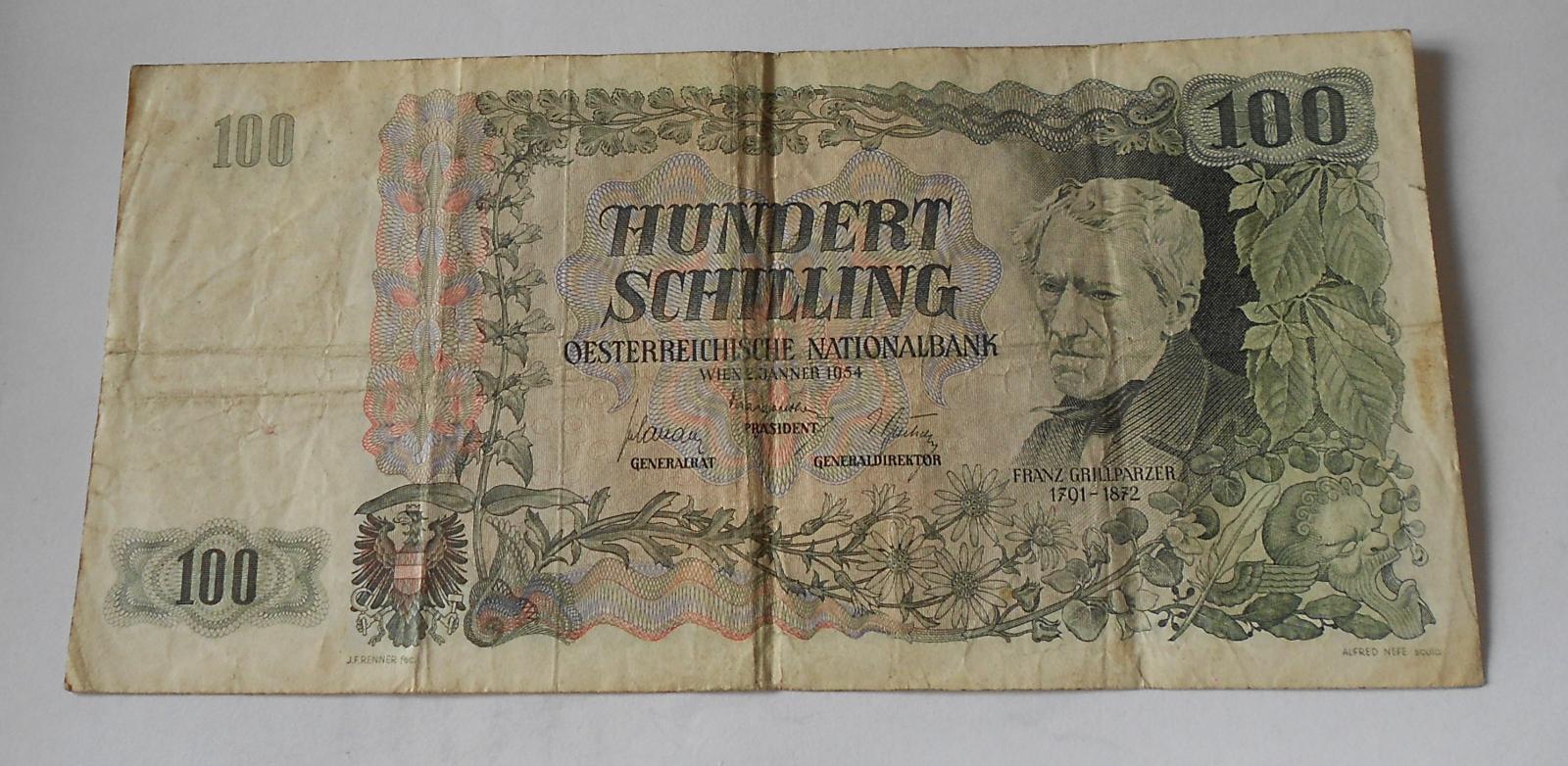 Rakousko 100 Schilling 1954