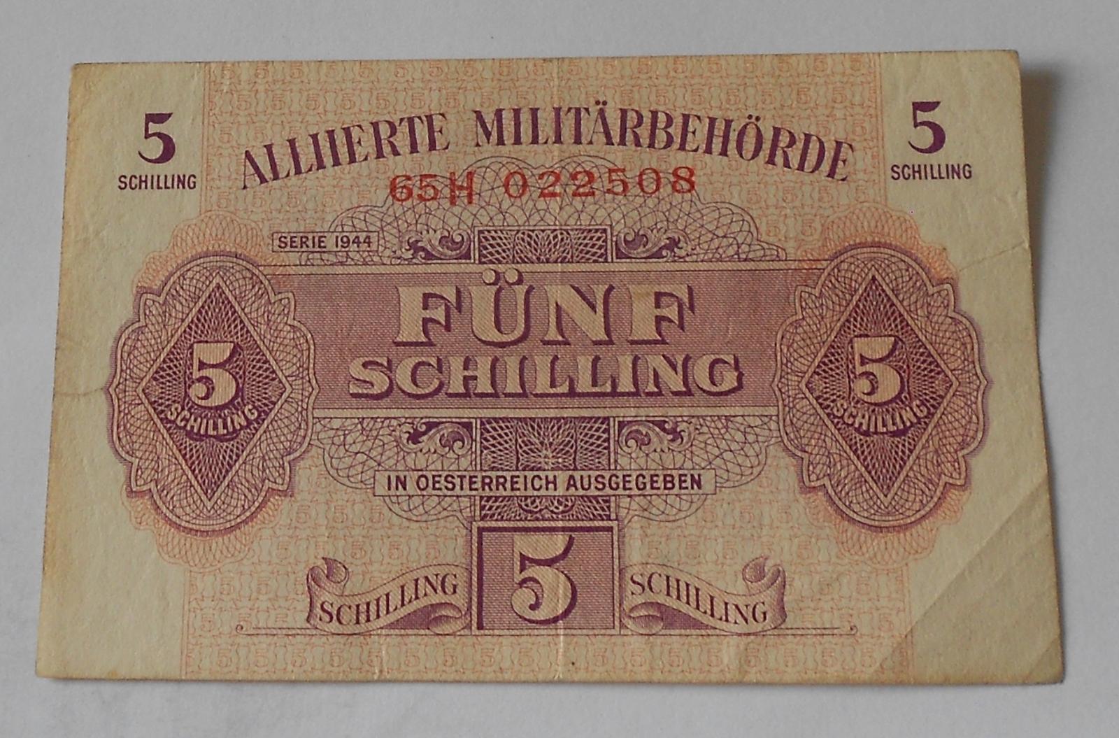 Rakousko 5 Schilling 1944 Vojenská poukázka