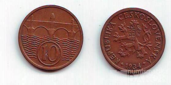 10 Haléř(1934), stav 1+/1+