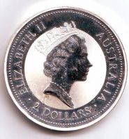 2 Oz stříbra(1997-Ag 999-Austrálie), stav PROOF, investiční medaile