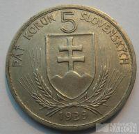 Slovensko 5 Ks Hlinka 1939