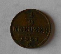 1/2 Krejcar 1851 B pěkný