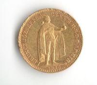 10 Koruna (1910-Au 900-3,4g-ražba KB), stav 1/1 hr.