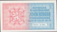 1Kč/1938/, stav UNC, série A 061, bez přetisku
