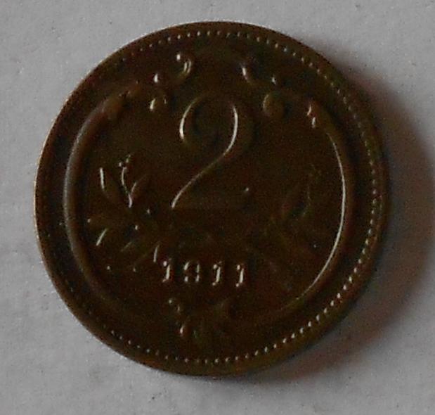 2 Haléř 1911 stav