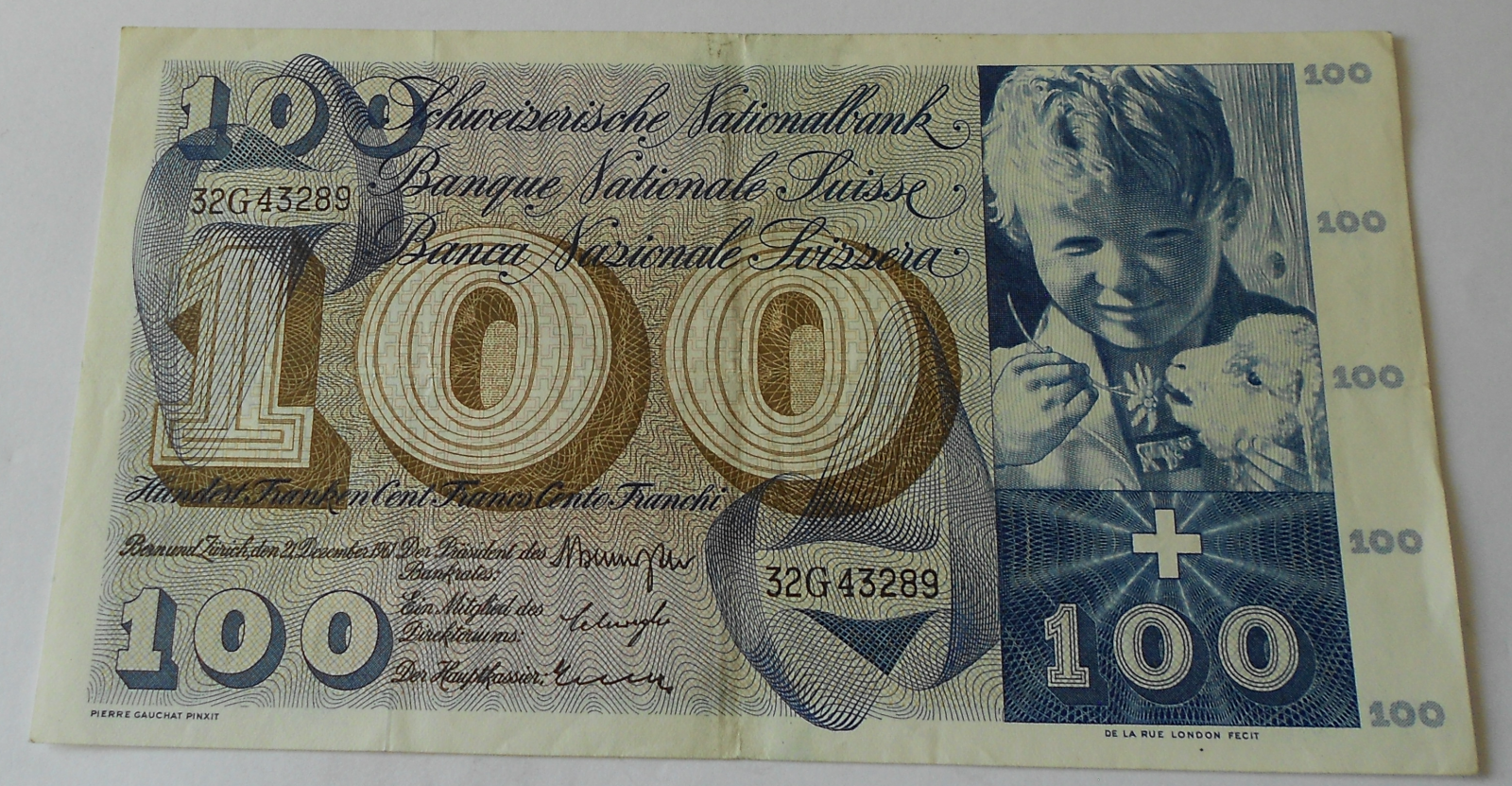 Švýcarsko 100 Frank 1961