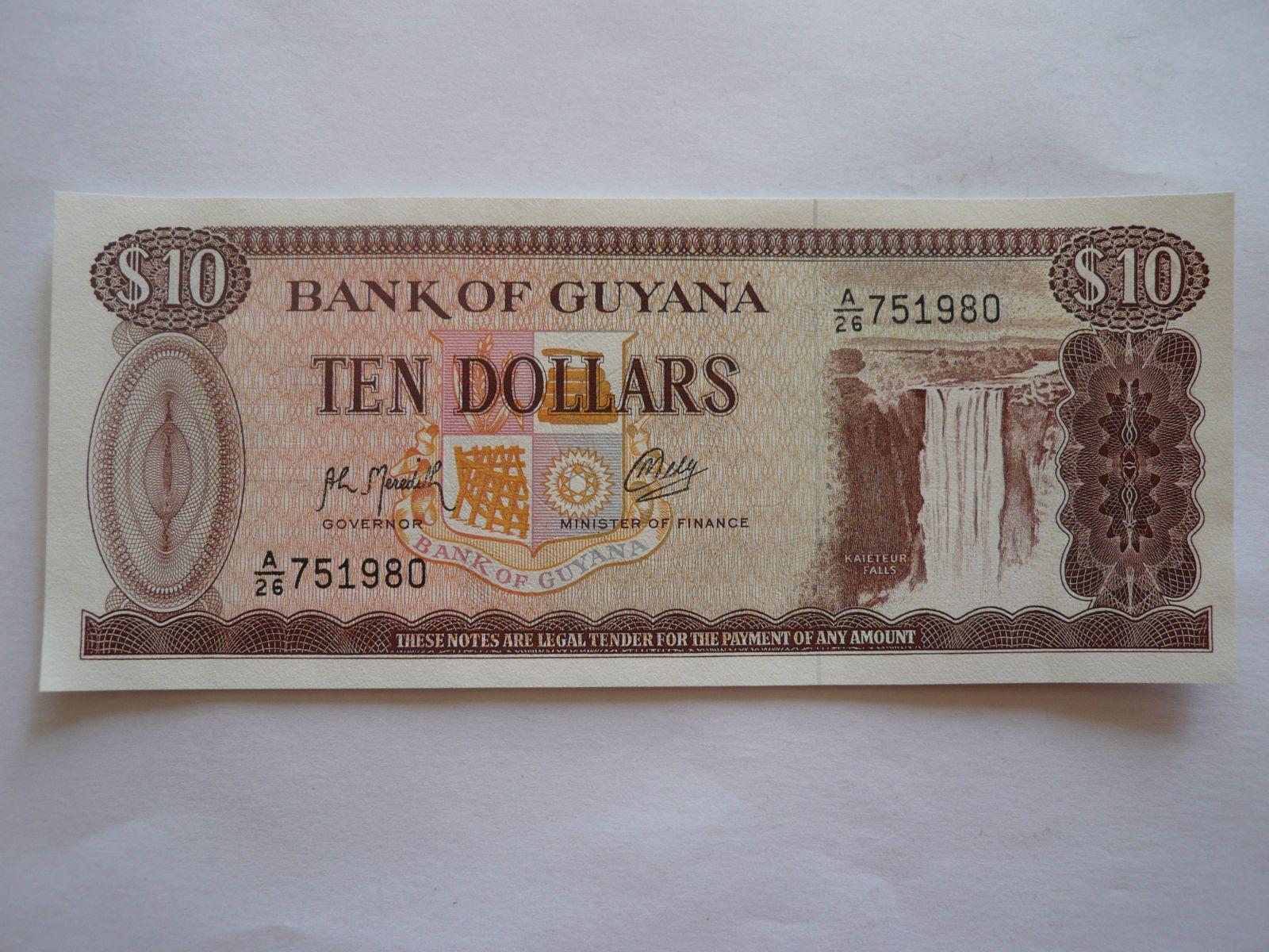 10 Dollars, vodopád-hnědá, Guyana
