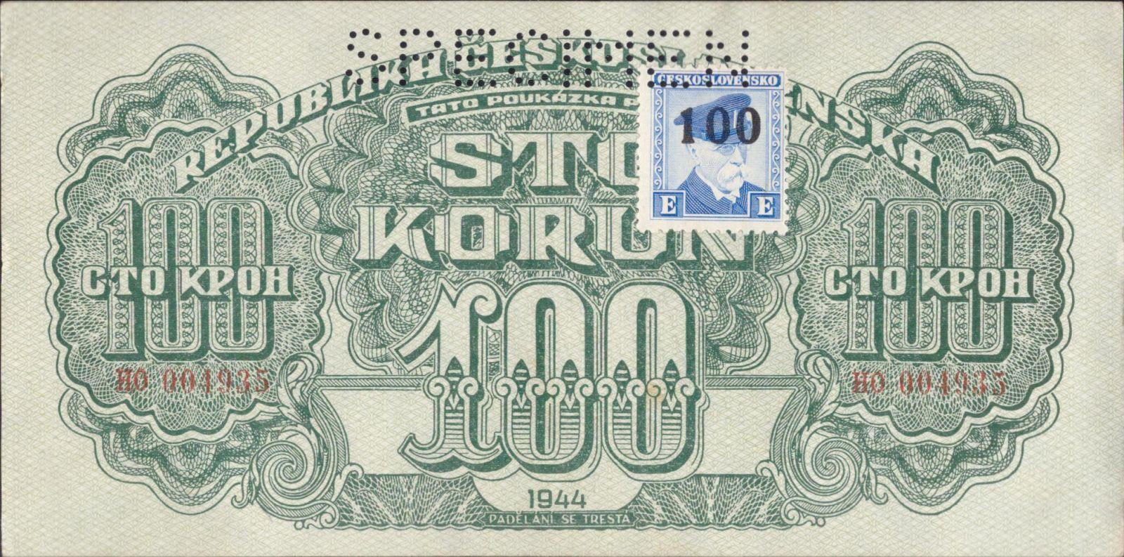 100K/1944-kolek ČSR-Tato/, stav 0 perf. SPECIMEN nahoře, série HO - číslovač Hvězda