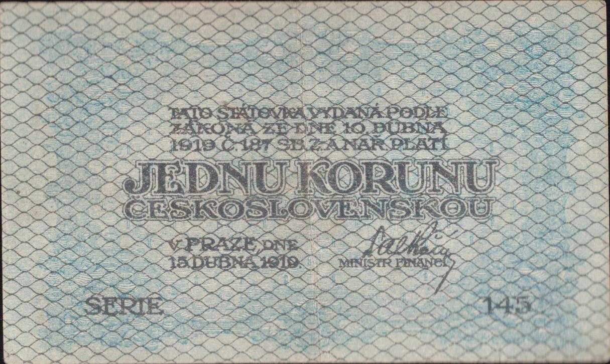 1Kč/1919/, stav 2+ dírka, série 145