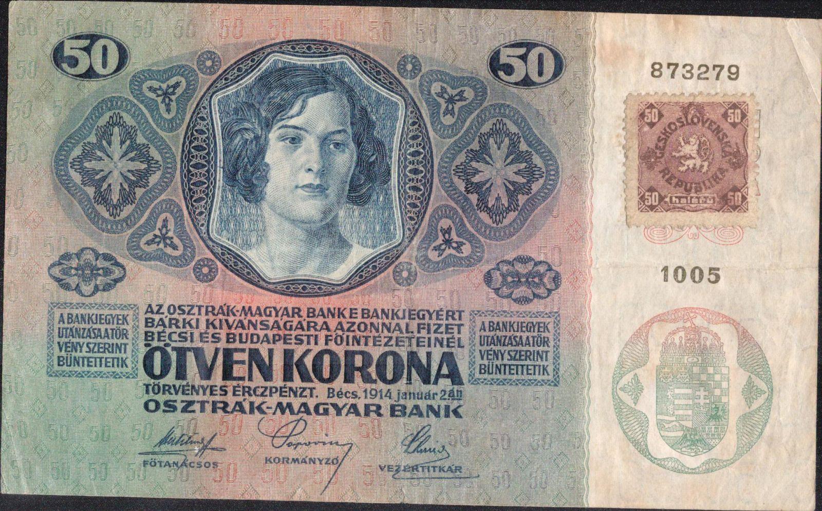 50Kč/1914-18, kolek ČSR/, stav 2- n., série 1005