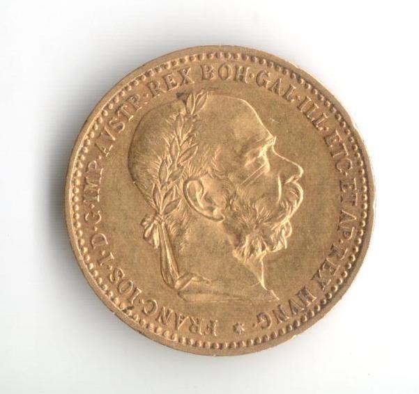 10 Koruna(1905-Au 900-3,4g-ražba bz), stav 1+/0 hr.