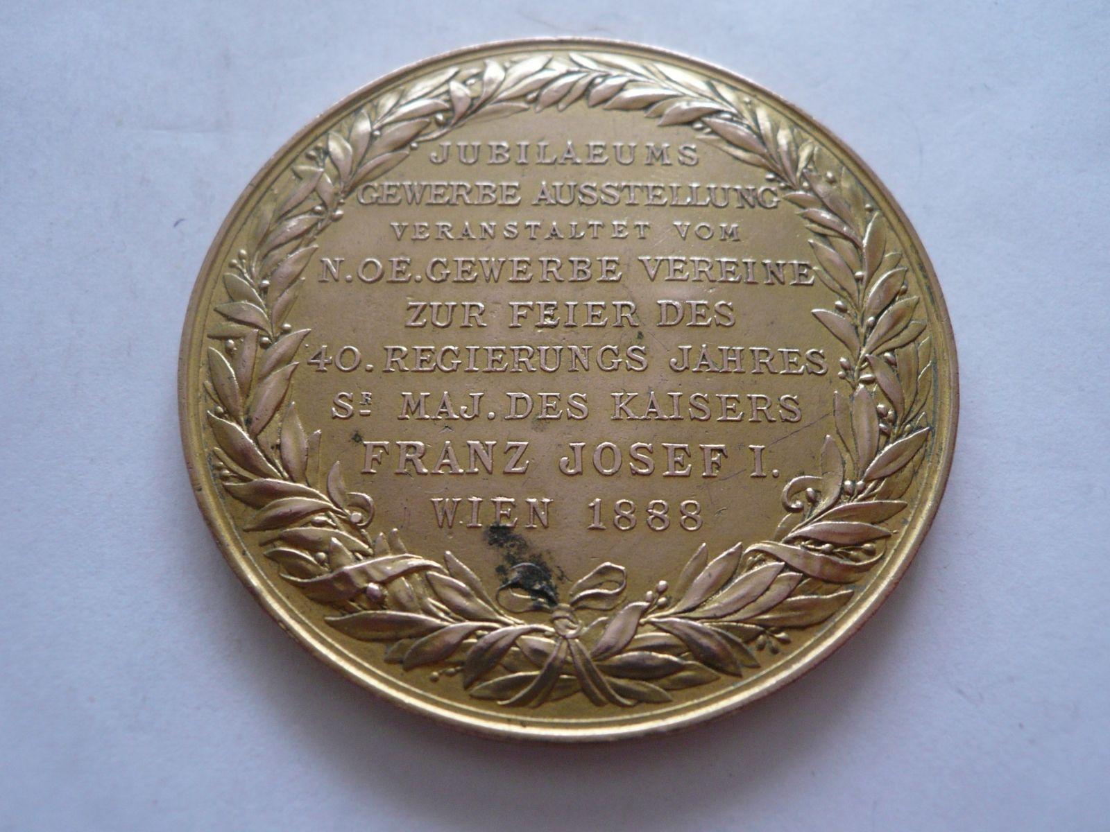 jubilejní výstava Vídeň 1888 - jednostranný odlitek medaile, Rakousko-Uhersko