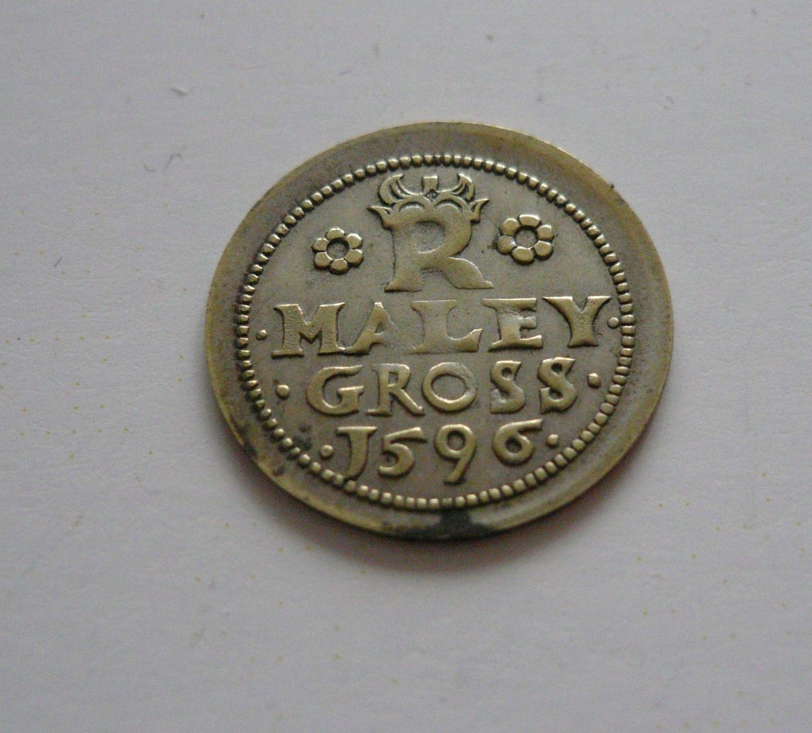 plaketa na malý groš z roku 1596, ? 18mm, ČR