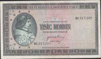1000Kčs/1945-bl/, stav 2+, série BC
