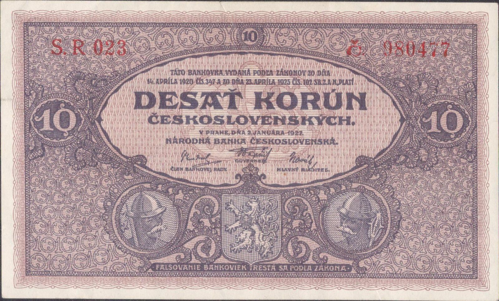 10Kč/1927/, stav 1 o., série R 023