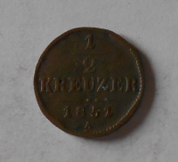 Rakousko 1/2 Krejcar 1851 A