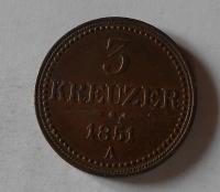 Rakousko 3 Krejcar 1851 A pěkná
