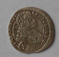 Čechy – Kutná Hora 3 Krejcar 1698 Leopold I. stav