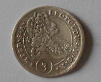 Čechy – Kutná Hora 3 Krejcar 1699 Leopold I. stav