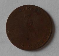 Rakousko 3 Centesimi 1849 Ferdinand V.