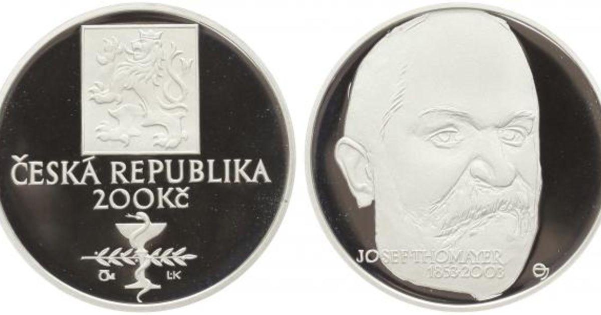 200 Kč(2003 Thomayer), stav PROOF, neoriginální etue a certifikát