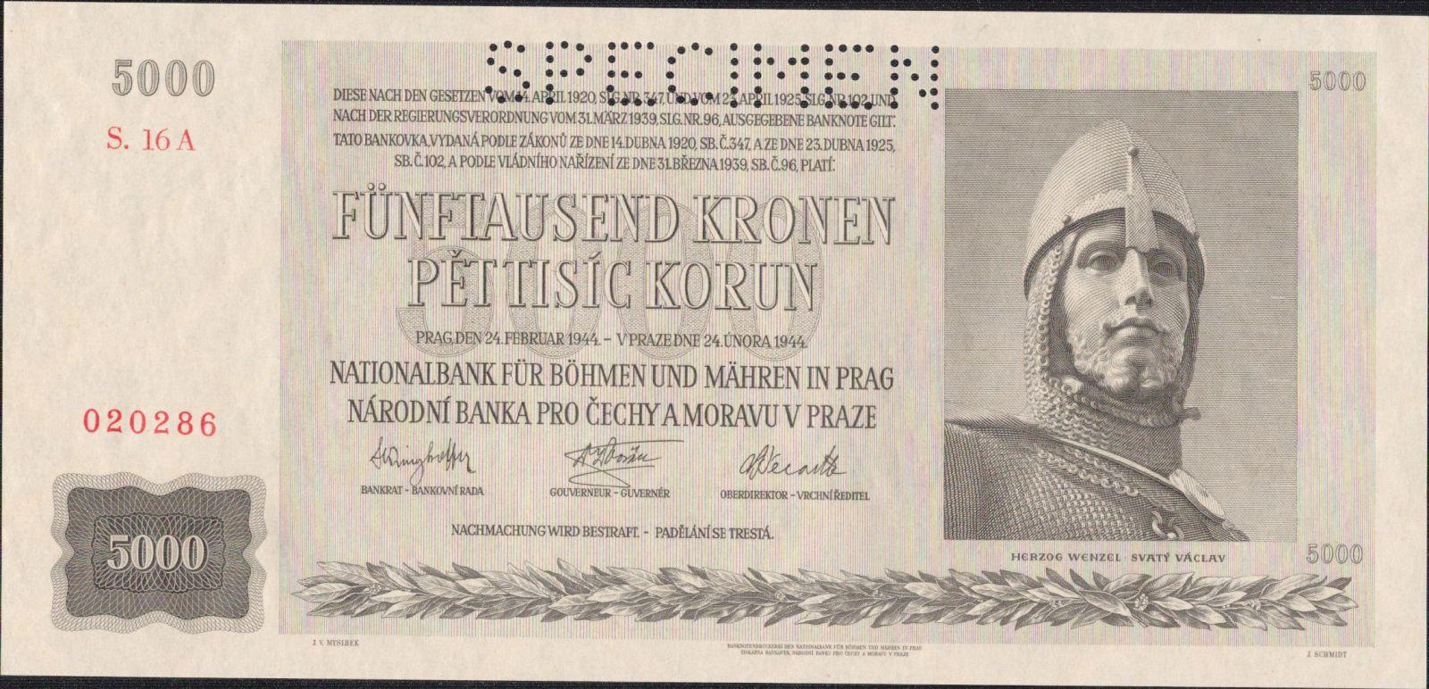 5000K/1944/, stav UNC perf. SPECIMEN, série 16 A