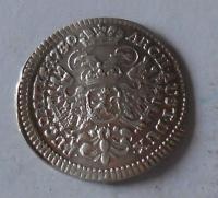 Čechy – Praha 3 Krejcar 1740 Karel VI., stav, prohnutý ražbou