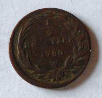 Rakousko 1/2 Krejcar 1780 W Marie Terezie