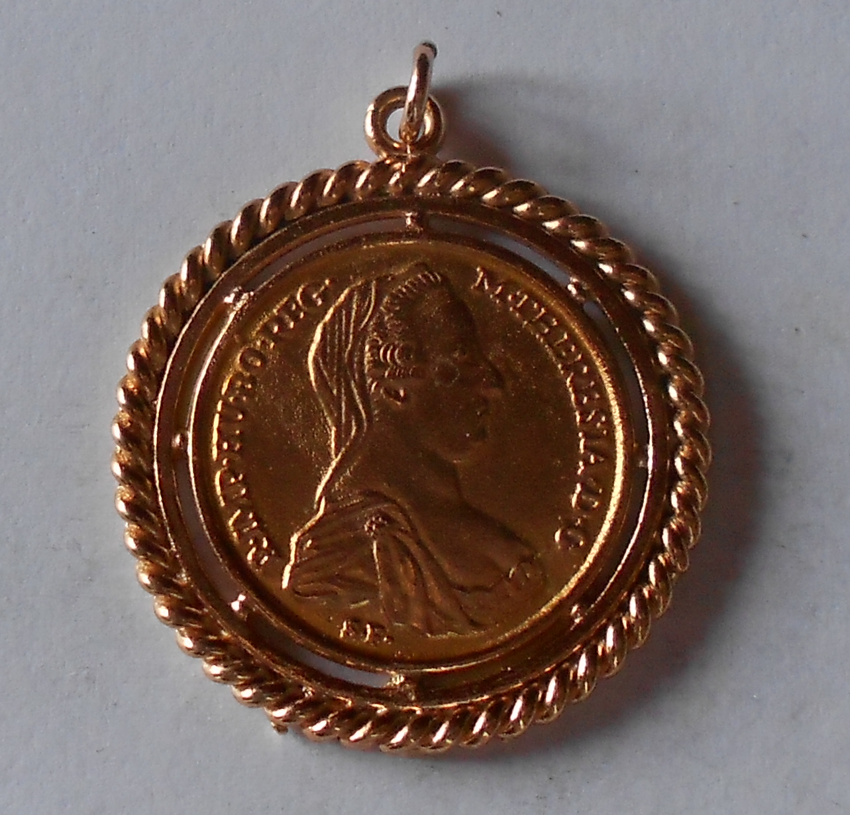 Rakousko 2 Dukát 1780 Marie Terezie, zlacený bronz