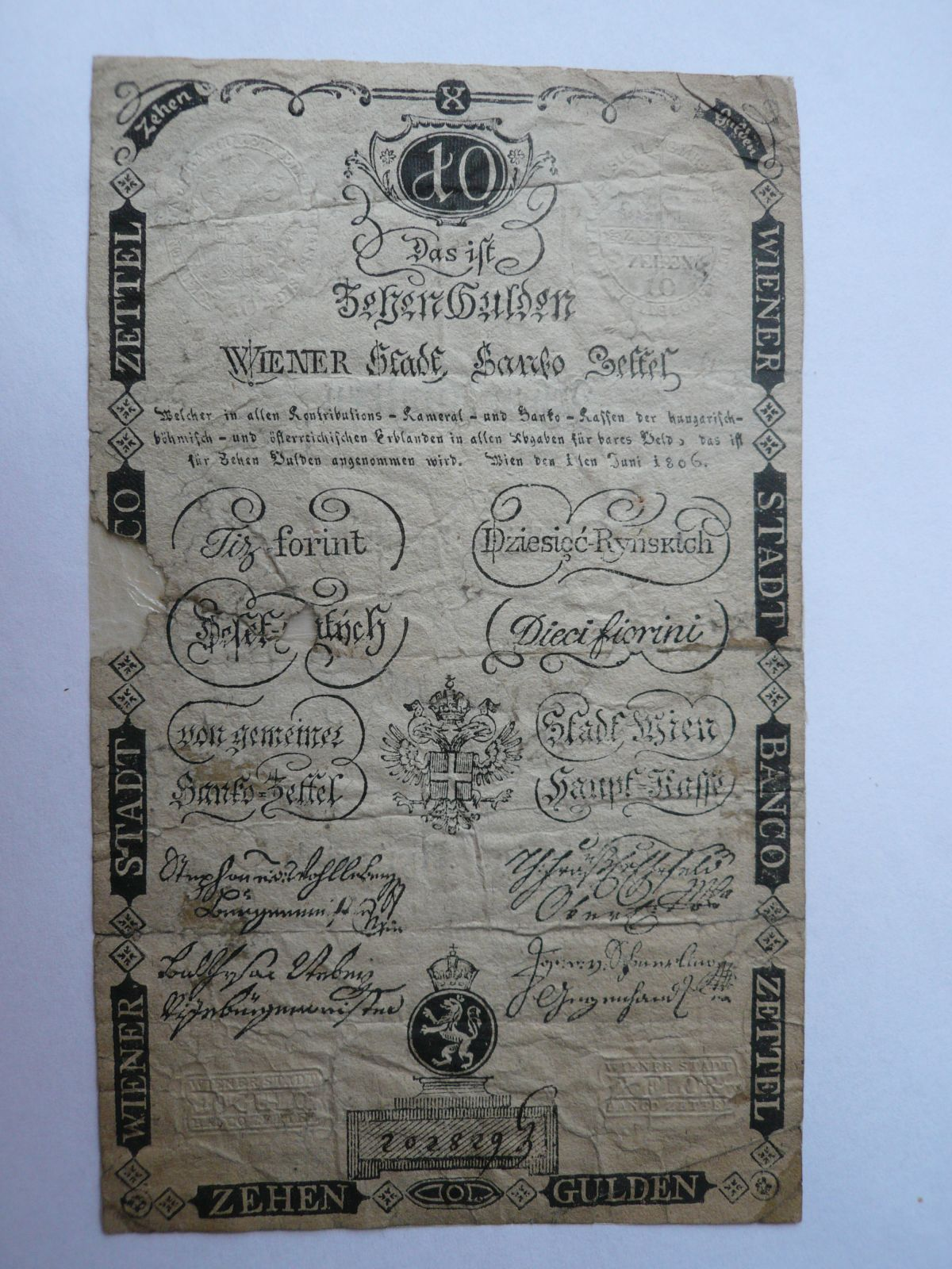 10 Gulden, 1806, Rakousko