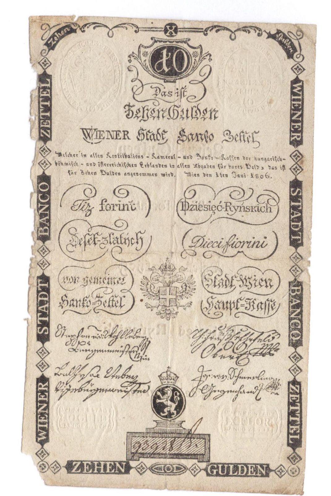 10Gulden/1806/, stav 3- sv., pěkné suché pečetě, číslo 93928