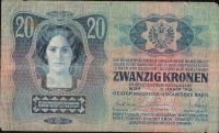 20Kč/1913-19, kolek ČSR/, stav 4, I.vydání