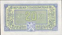 20Kčs/1945-bl/, stav UNC perf. 3md, série HV